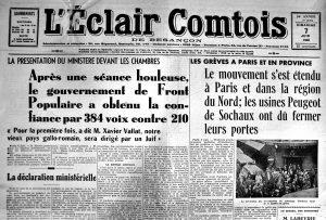 La une de l'Eclair comtois du 7 juin 1936