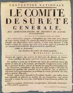 Une affiche du Comité de sureté générale