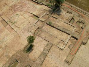 Vue aérienne d'une grange de la villa