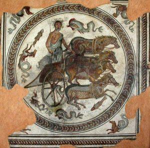 Mosaïque de Neptune sur un char