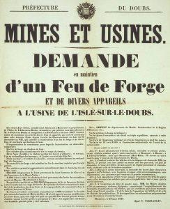 Une affiche sur les mines et usines de 1847