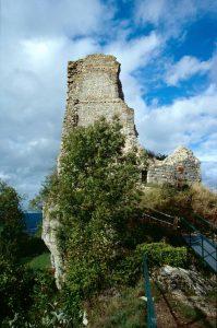 Les vestiges d'une tour du château de Montfaucon