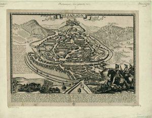 Plan ancien de Besançon vers 1680