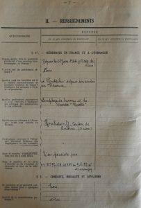 Extrait du dossier de naturalisation page 2