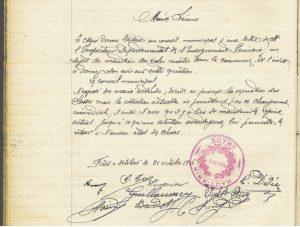 Extrait du registre de la municipalité de Chaux, PV de la séance du 21 octobre 1906 portant sur la mixité à l'école de Chaux.