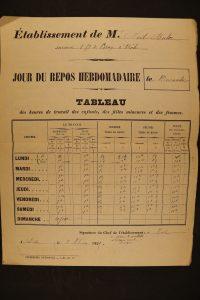 Tableau des heures de travail (années 1890) 7F2_R